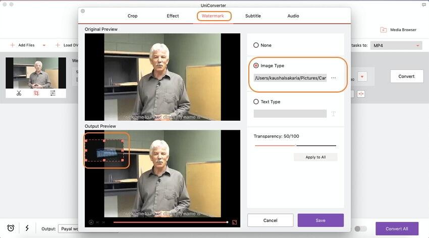 إضافة علامات مائية للفيديو باستخدام Video Converter Ultimate على نظام Mac