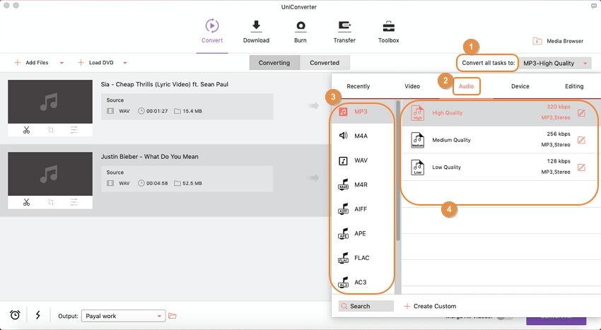 تحويل ملفات الصوت باستخدام Video Converter Ultimate على نظام Mac