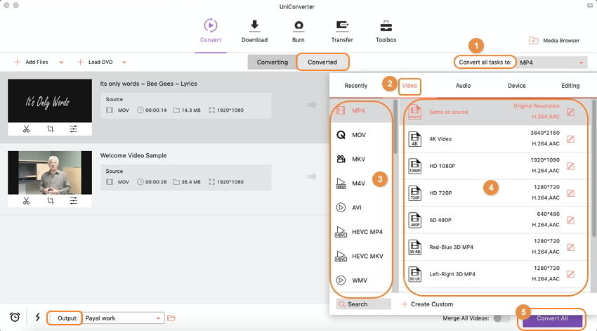 تحويل الفيديو مع الحفاظ على الجودة باستخدام iSkysoft Video Converter Ultimate على نظام Mac