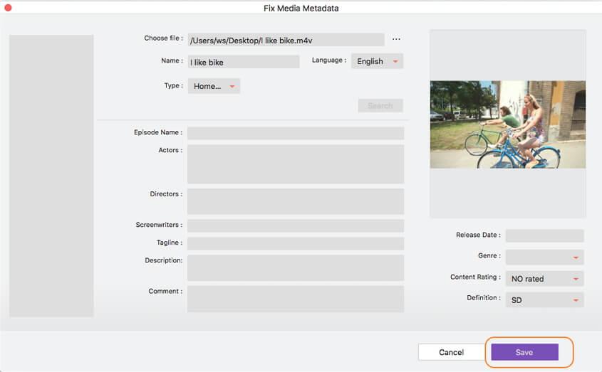 إضافة بيانات وصفية لفيديو باستخدام Video Converter Ultimate على نظام Mac