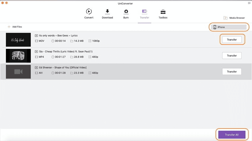 transferir vídeos para iphone usando o imedia converter deluxe mac