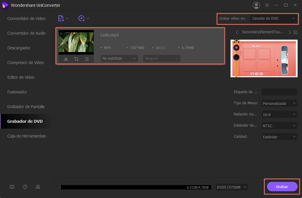 grabar videos de alta definición
