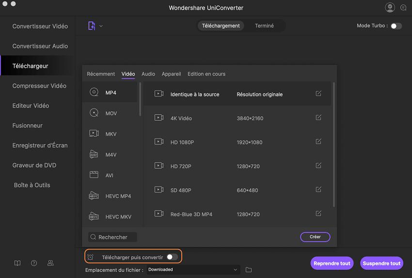 comment télécharger des vidéos en ligne en utlisant UniConverter pour Mac