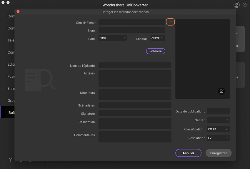 ajouter des métadonnées vidéo à l'aide d' uniconverter pour mac