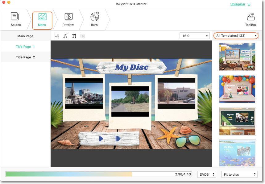 choose dvd menu on iskysoft wmv to dvd creator