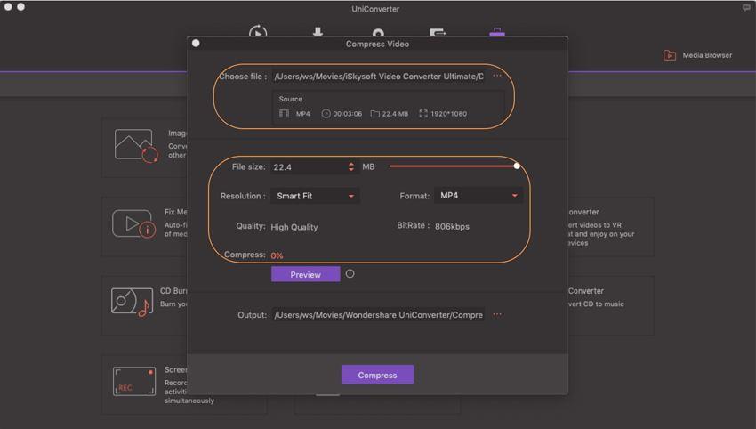 Select compression settings