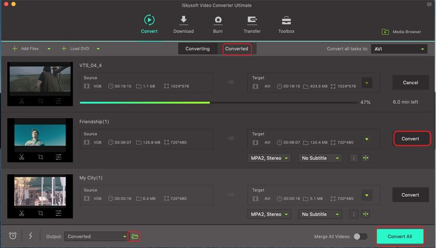 Quick Conversion of VOB to AVI Online