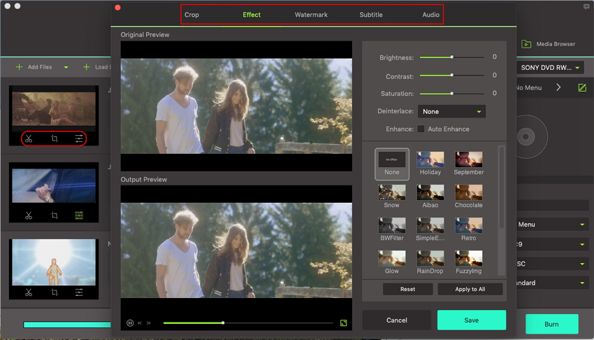 edit video with iskysoft mp4 to dvd burner