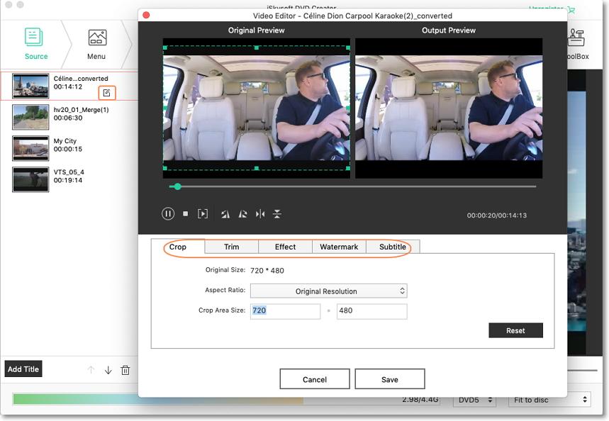 edit video on iskysoft wmv to dvd creator