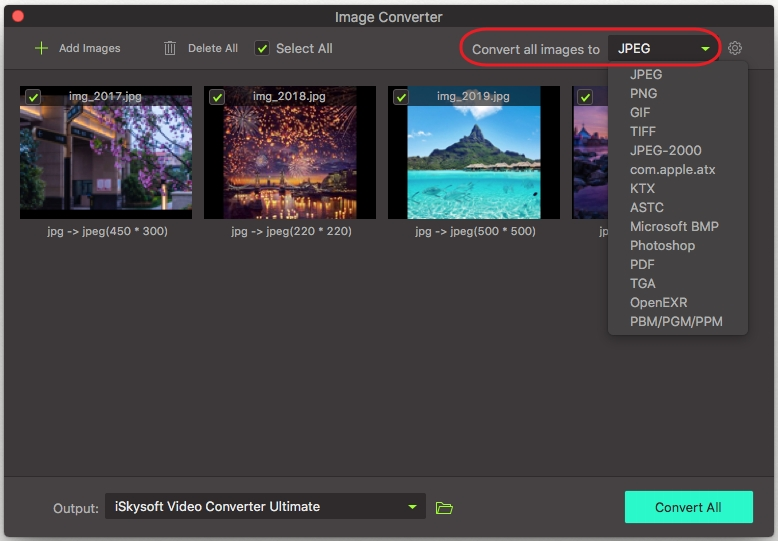 choose output image format