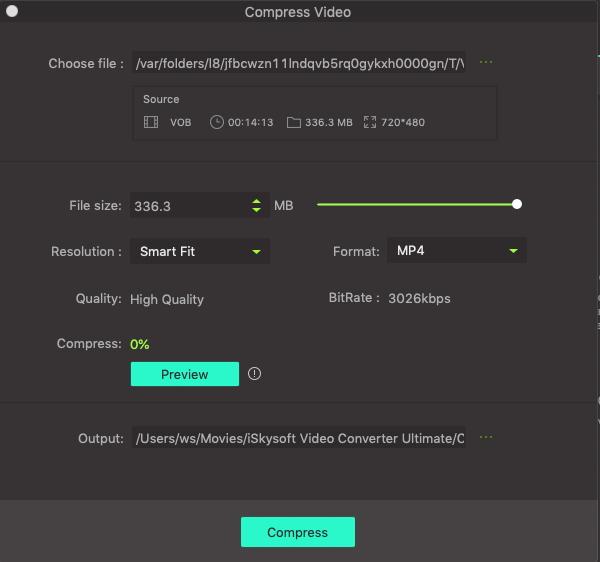 settings of compress