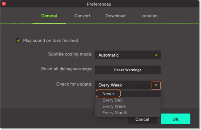 hd video converter update settings