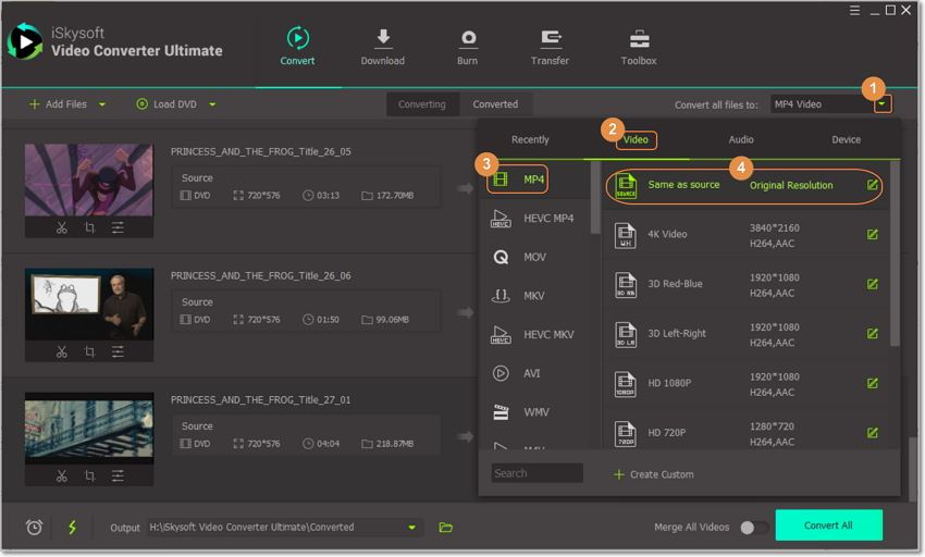 choose output format on iskysoft dvd converter