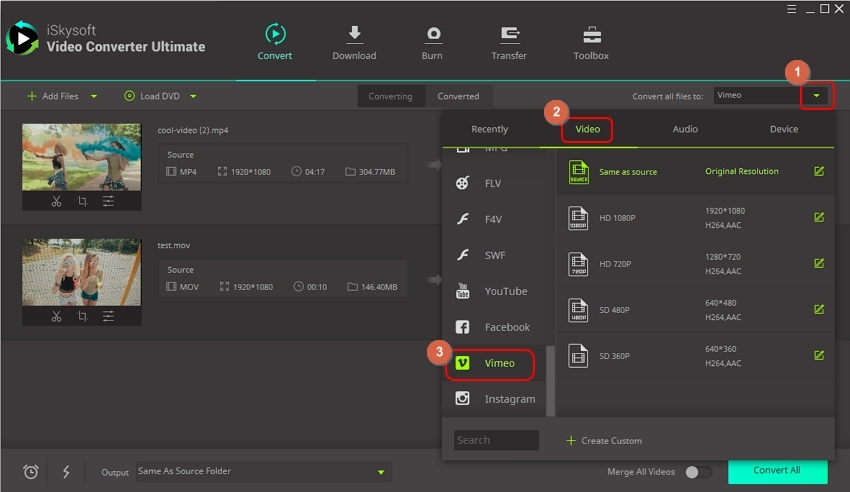 add video and choose vimeo as output format