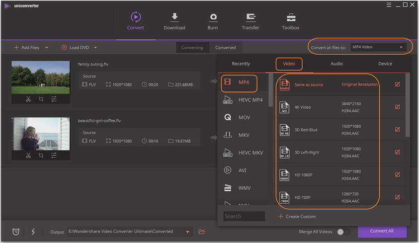 how to change flv to mp4