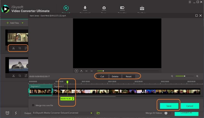 Cut added video