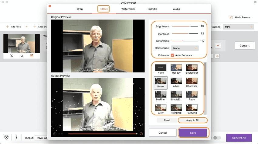 applicare effetti ad un video usando imedia converter deluxe mac