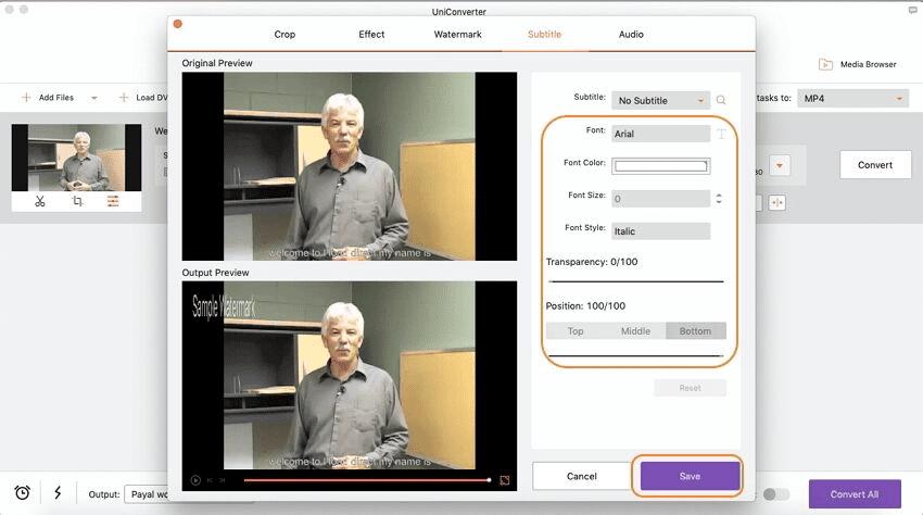 aggiungere sottotitoli al video utilizzando imedia converter deluxe mac
