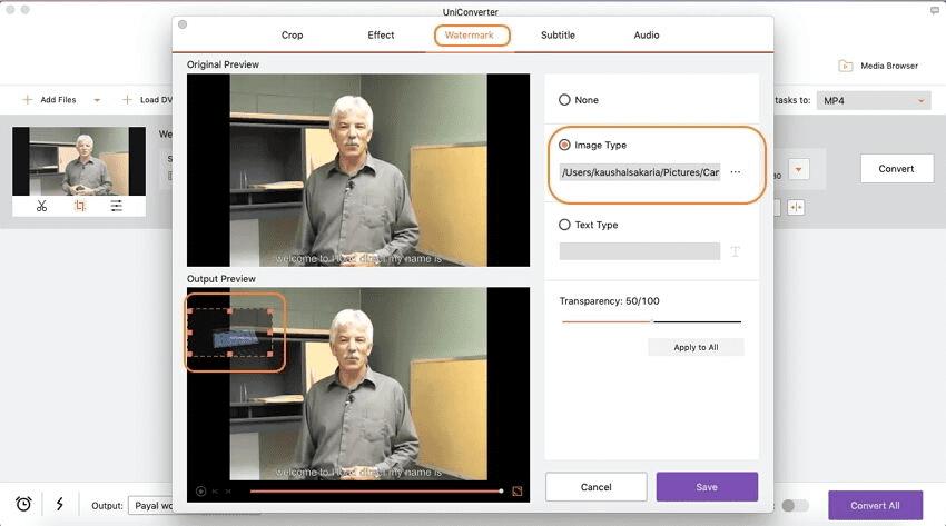 aggiungere filigrane al video utilizzando imedia converter deluxe mac