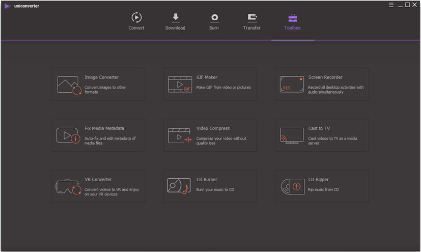toolbox convertitore video windows