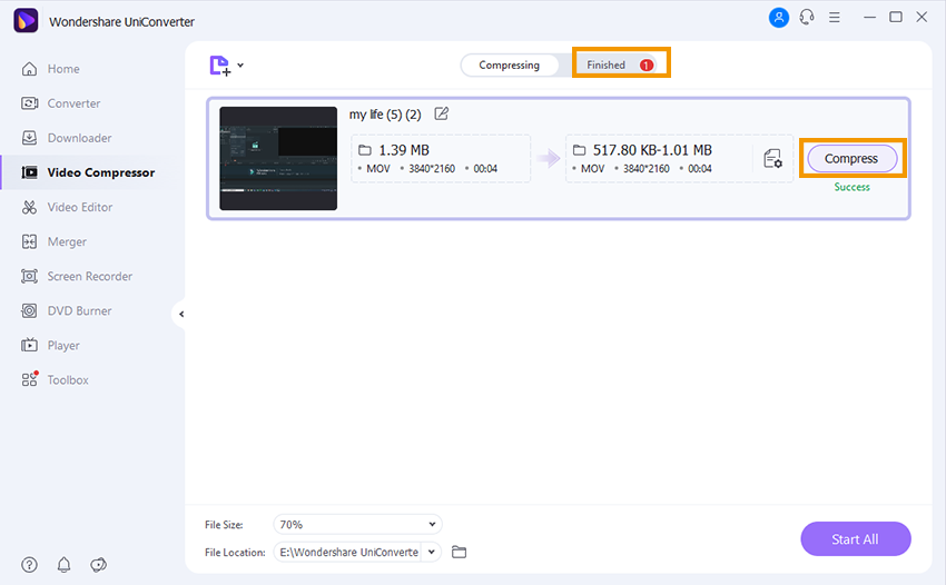 Preview and compress MOV file