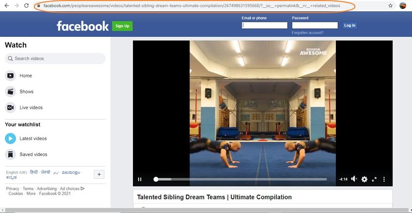 get facebook video url