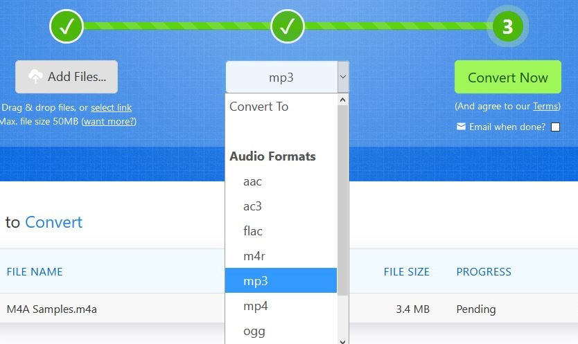 choose mp3 format