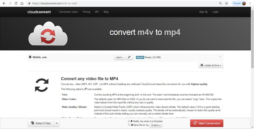cloud convert m4v to mp4