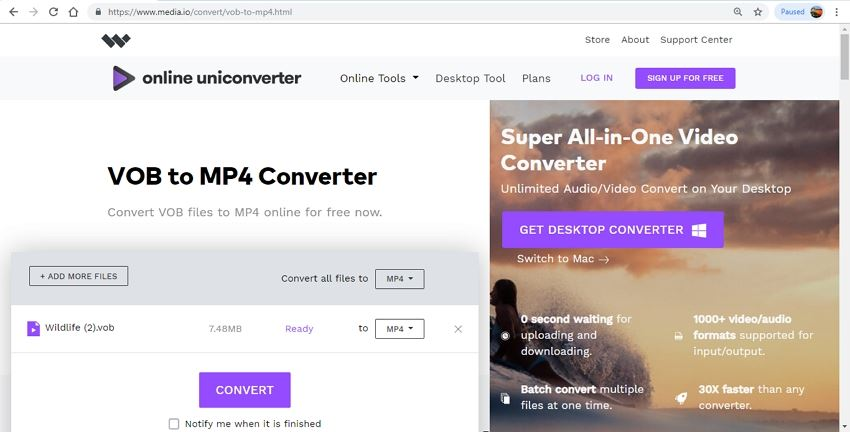 convert vob to mp4 online