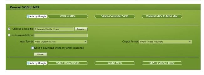 convert vob file to mp4 online
