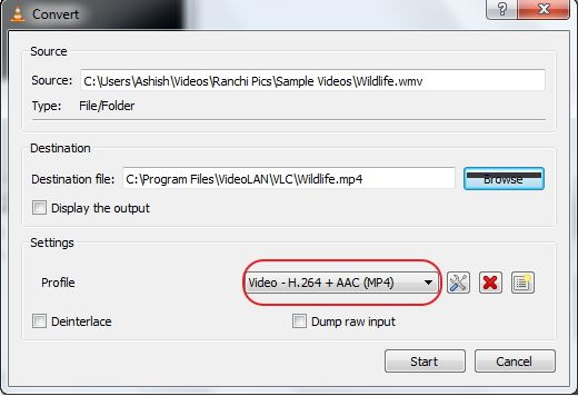 convert mov to mp4 vlc