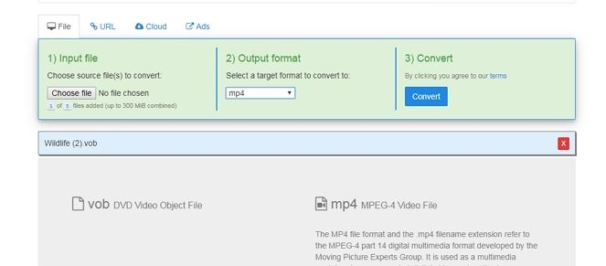 convert vob to mp4 free online