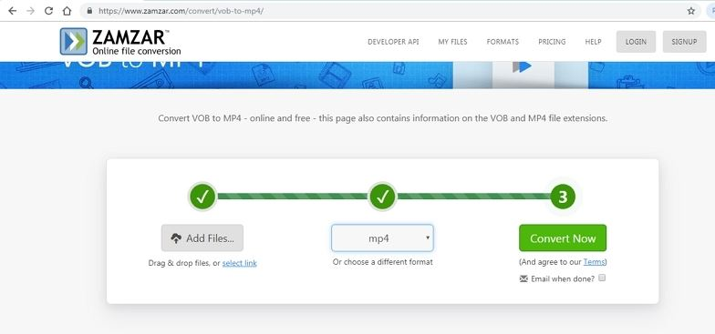 convert large vob to mp4 online