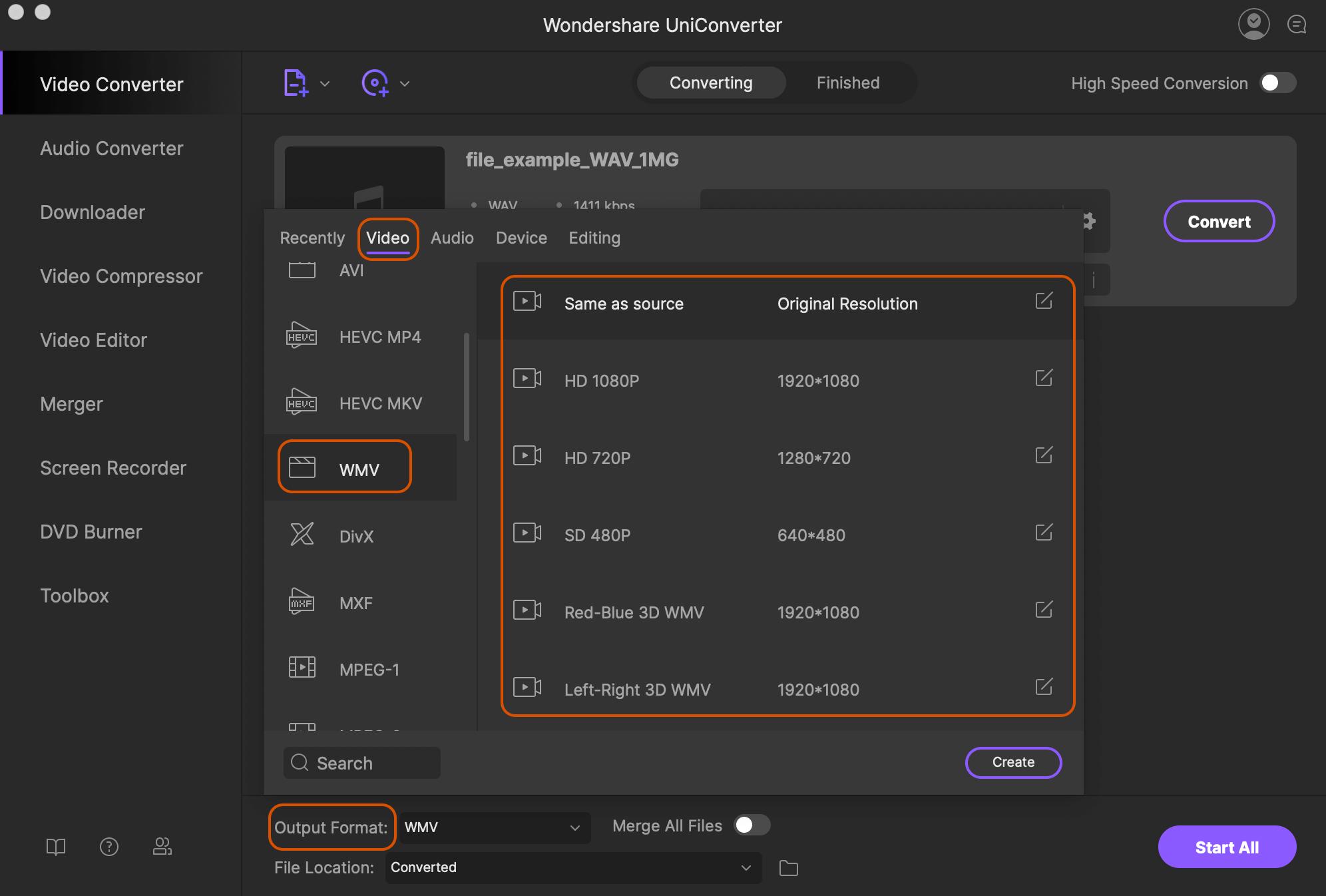 convert wav to wmv format