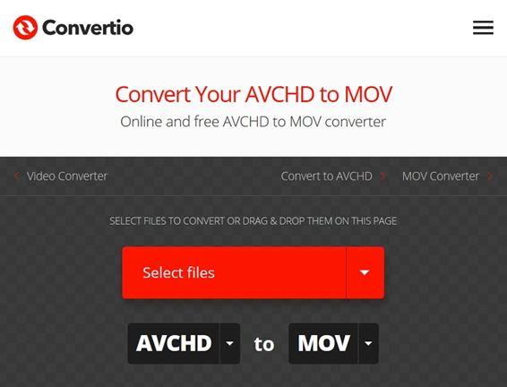 convert avchd to mov by convertio