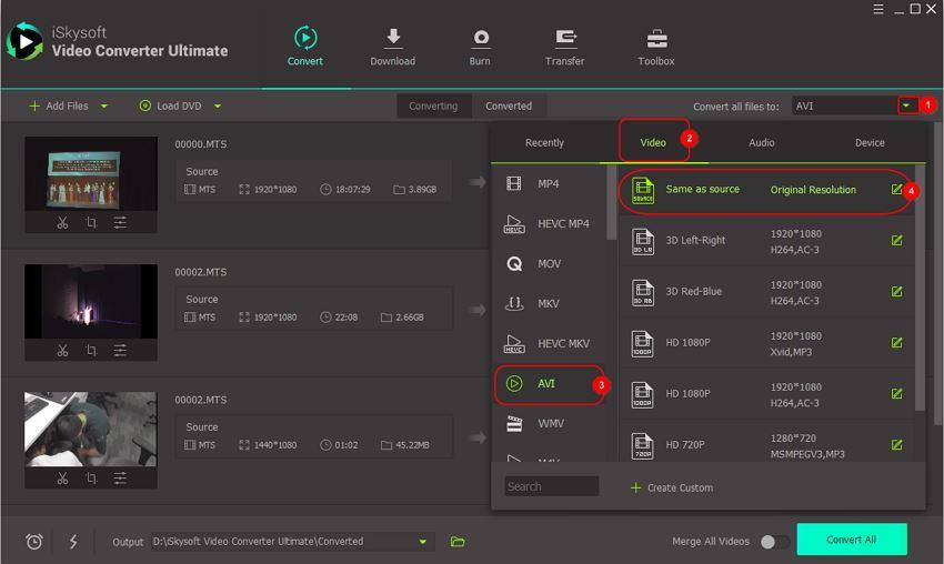 select output avi