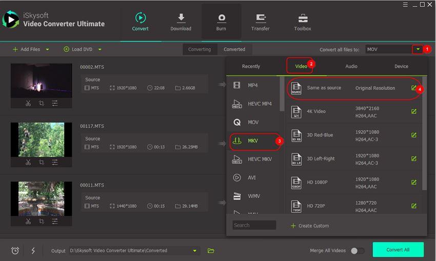 select output mkv