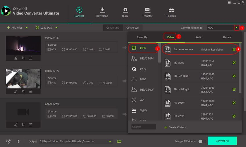 choose mp4 as output