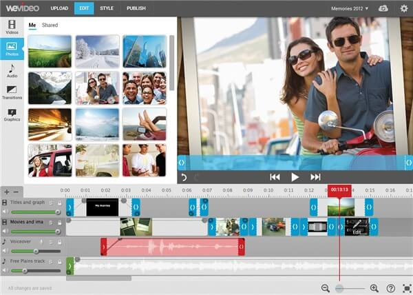 trim mp4 online using WeVideo