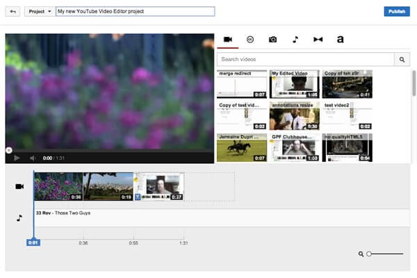trim mp4 online using YouTube Video Editor