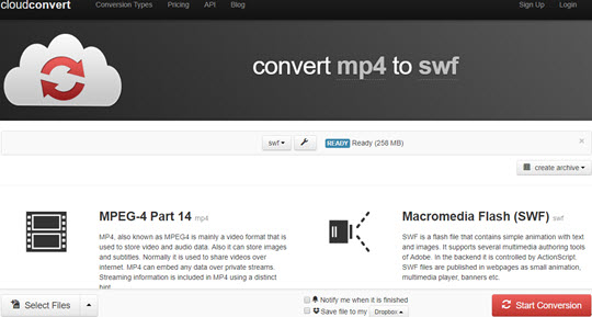 Convert MXF to MP4 Online using CloudConvert