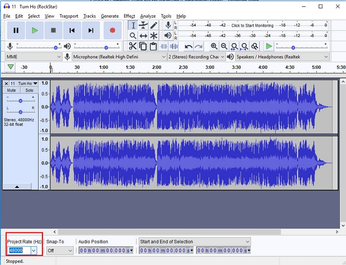 Compress Audio for WhatsApp using Audacity step 2
