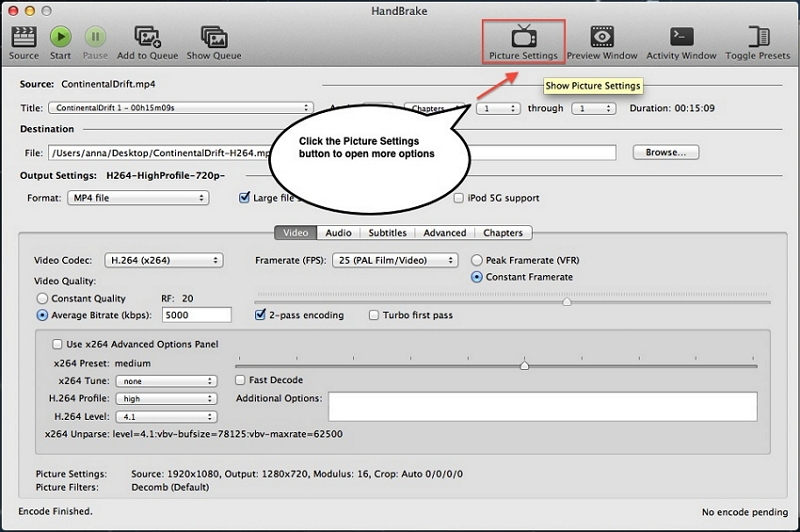 Compress a Video on Mac with Handbrake step 4