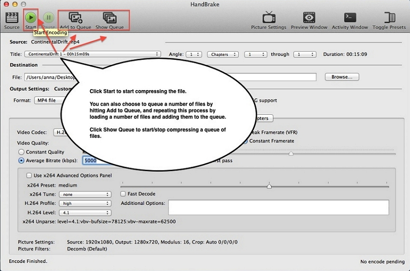 Compress a Video on Mac with Handbrake step 5