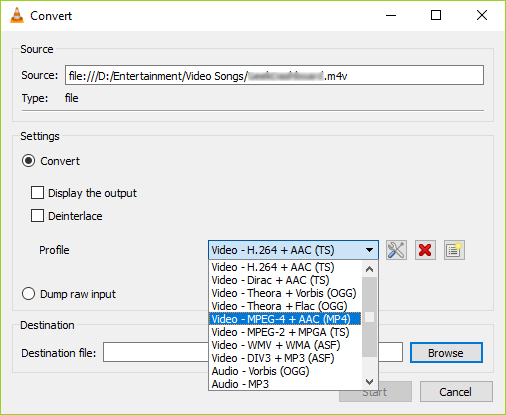 Convert DivX to MP4 in VLC step 3