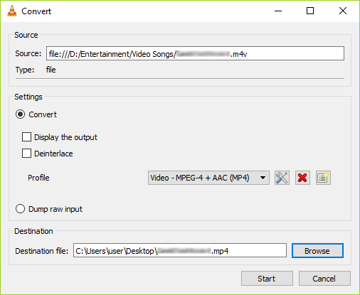 Convert DivX to MP4 in VLC step 4