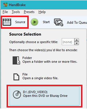 convert DVD to MP4 using Handbrake step 1