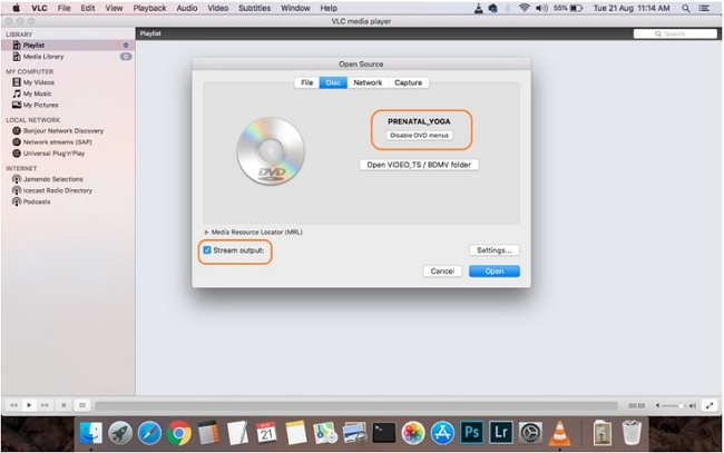 convert DVD to MP4 using vlc step 1