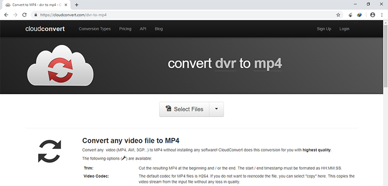 steps to convert dvr to mp4 online in cloudconvert