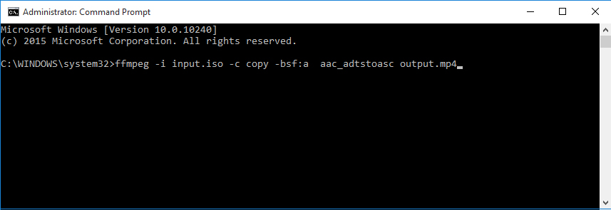 How to Convert ISO to MP4 using FFmpeg step 2